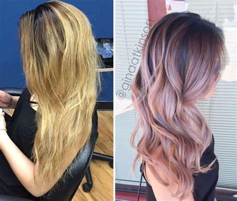 toning hair transformation low maintenance dusty pink balayage hair
