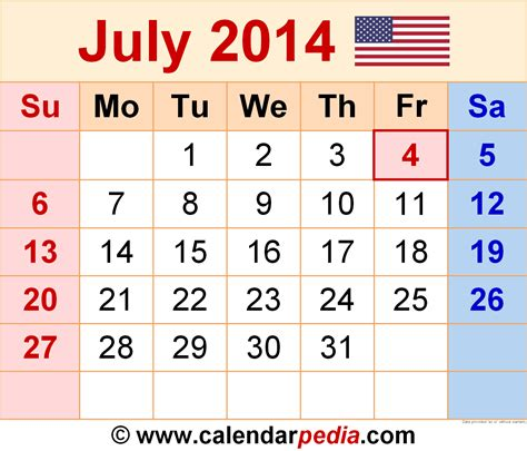 july 2014 calendars for word excel pdf
