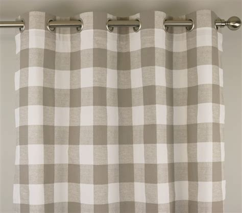 grey and white check curtains ecru taupe beige white buffalo check curtains grommet 84