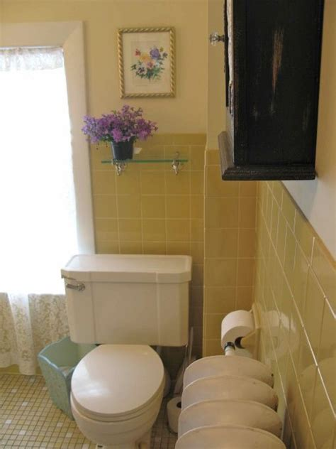 yellow tile bathroom makeover the walls were painted a yellowish white with an fashioned