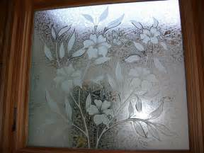 Etched decorative glass window hibiscus flower hummingbird