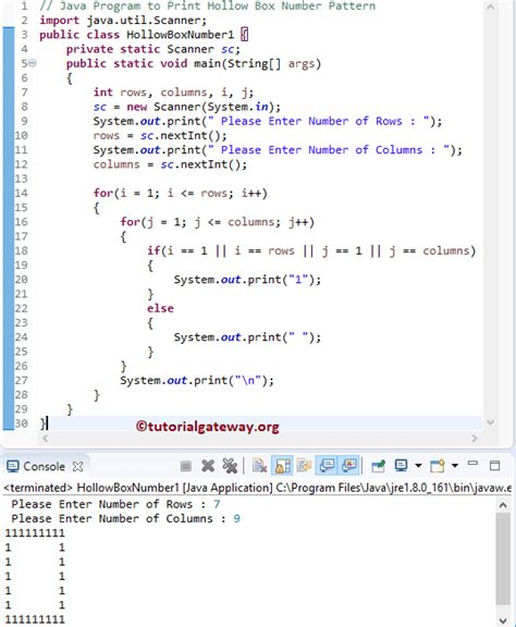 box pattern in java java program to print hollow box number pattern