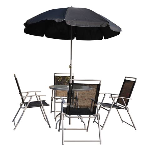 Patio Furniture Set With Umbrella Outsunny 6pc Outdoor Patio Umbrella Set Garden Bistro Yard Furniture Dining Table Folding Chairs