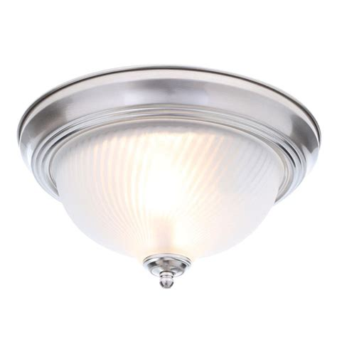 Hton Bay 2 Light Brushed Nickel Flushmount Fzp8012a Home Depot Flush Ceiling Lights