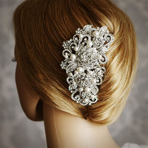 pearl hair style pics hair comb ideas in crystal and rhinestone for wedding