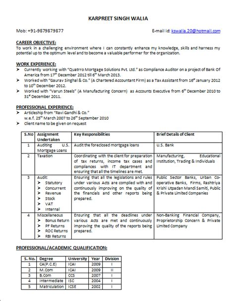 outstanding standard format of resume for ca articleship