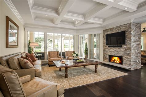 Dining Rooms With Wainscoting stack stone fireplace living room traditional with