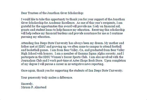 Thank You Note For Scholarship Received scholarship thank you letter for further gratitude
