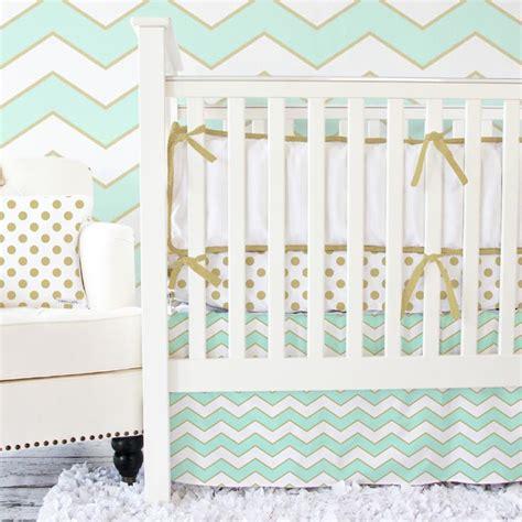 Chevron Crib Bedding Set Metallic Mint Chevron Crib Bedding Set