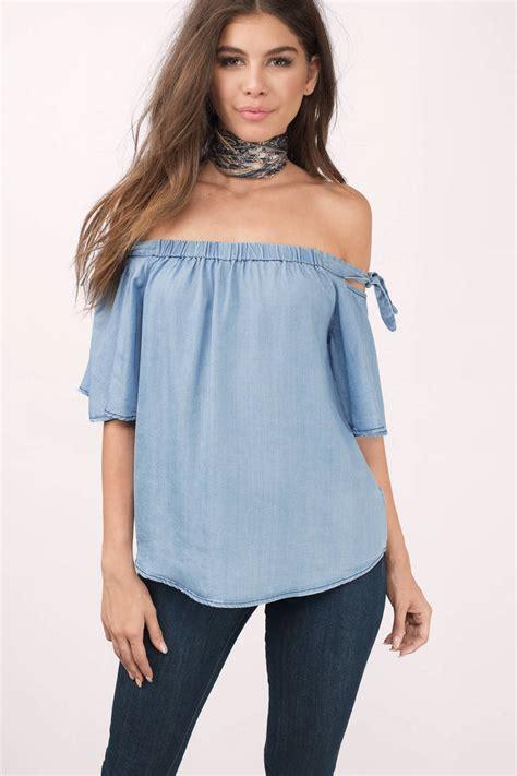 light blue the shoulder top black blouse sleeve tie blouse shoulder blouse