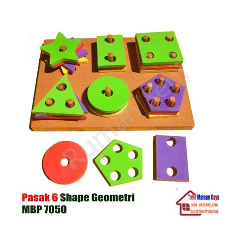 Basic Shape Mainan Edukasi Geometri Dasar Empat Bentuk Edukatif Anak pasak 6 shape geometri toko mainan kayu