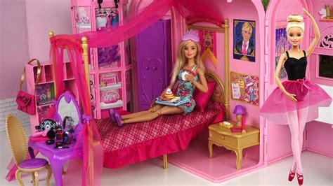 barbie princess bedroom barbie pink bedroom bath morning routine princess doll
