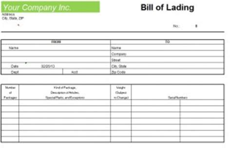 blank bill of lading form template blank bill of lading form template
