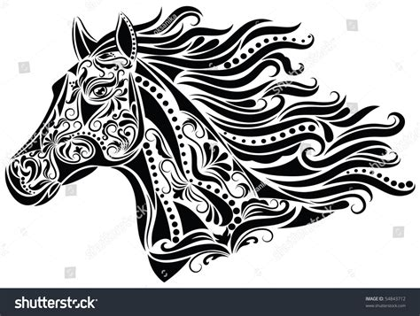 white pattern in horses pattern shape horse head stock vector 54843712 shutterstock