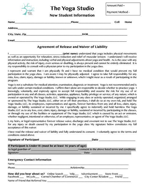 student consent form indianapolis yoga center