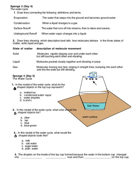 water cycle worksheets 4th grade worksheets for all