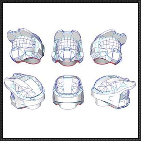 paper helmet template halo 3 vi smooth helmet papercraft free template