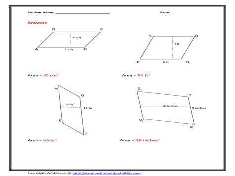free printable area of parallelogram worksheets worksheets parallelogram worksheets opossumsoft