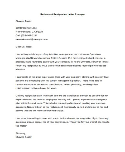 Sle Resignation Letter For Retirement retirement letter retirement letters livecareer sle of retirement letters from employers