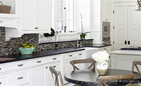 black granite white cabinet glass tile idea backsplash