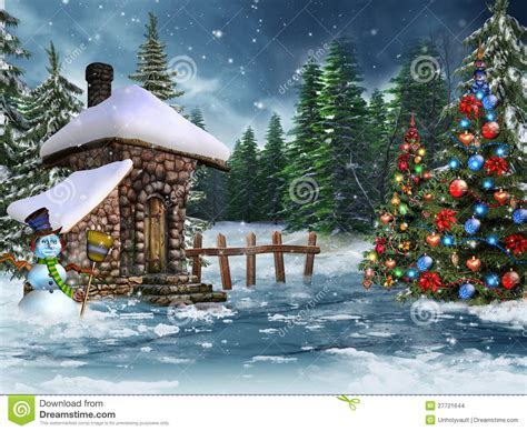 Cabana House Plans christmas cottage with a snowman stock images image