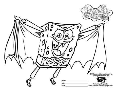 sponge bob halloween coloring pages