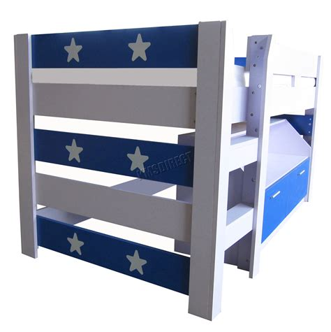 3 Sleeper Bunk Beds With Storage by Foxhunter Mdf 3ft Mid Sleeper Cabin Bunk Bed Wooden With Book Shelf Storage Ebay