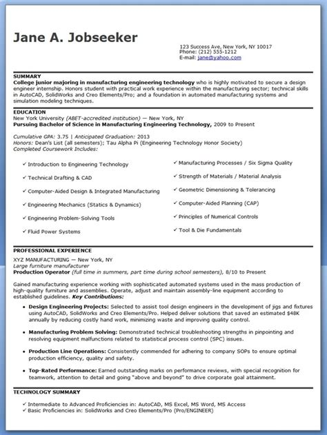Sle Resume For Entry Level Aerospace Engineer Resume Exle Engineer Best Resumes