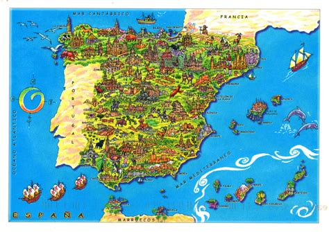 map spain maps of spain detailed map of spain in tourist map map of resorts of spain road