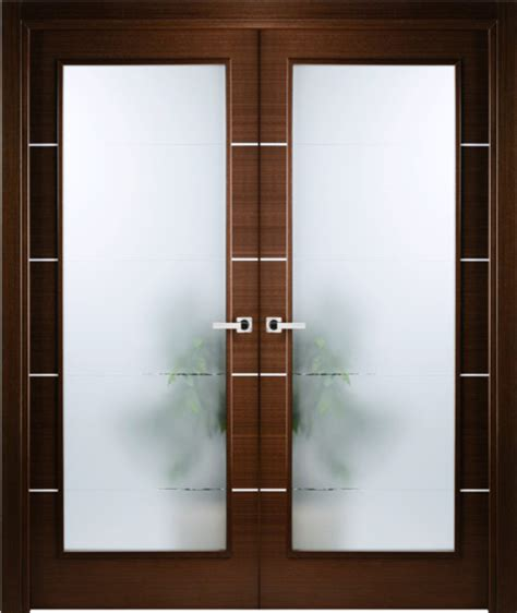 Modern Frosted Glass Interior Doors Italian Wenge Interior Door W Frosted Glass Decorative Strips Contemporary Interior