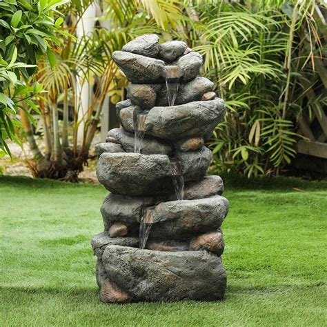 resin cascading rock fountain   water fountains