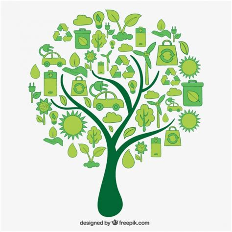 Tree Made Of Eco Icons Vector Premium Download Green Eco Tree Vector Free