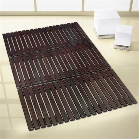 wood bathroom mat kleine wolke window wood bath mat 500 x 800mm brown