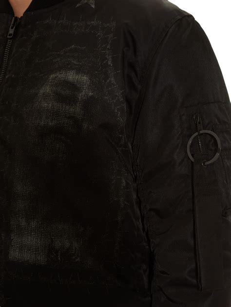 Pb Stradivarius Hem givenchy jesus print bomber jacket in black for