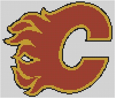 calgary bead stores counted cross stitch pattern calgary flames logo instant