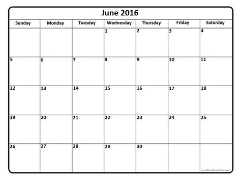 Blank Calendar Pages 2016 June 2016 Calendar June 2016 Calendar Printable