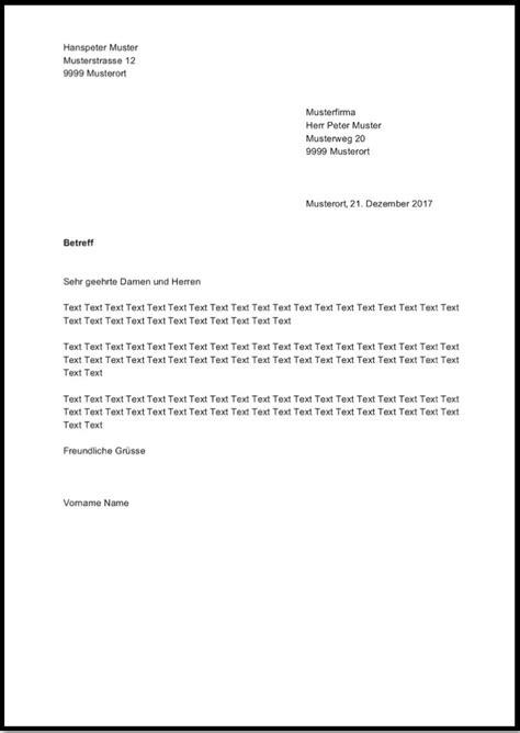 Brief B5 Schweiz Deutschland briefvorlage word schweiz kostenloser
