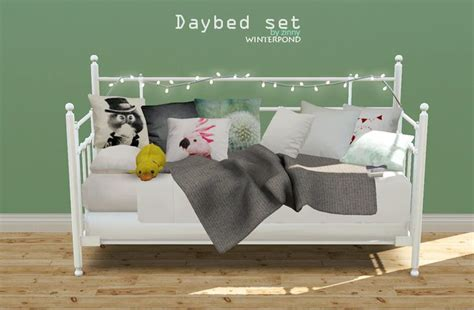 the sims 4 bed cc daybed set this set includes the bed cushions a blanket