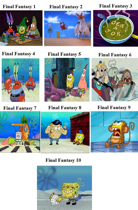 Comparison Meme - final fantasy spongebob comparison spongebob comparison