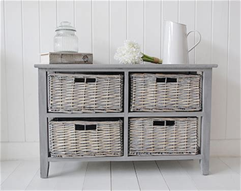 Storage Furniture With Baskets by St Ives Grey 4 Drawer Low Basket Storage Furniture From