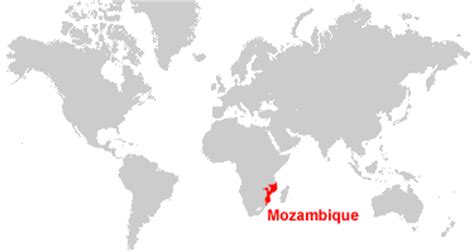 mozambique in world map mozambique map and satellite image