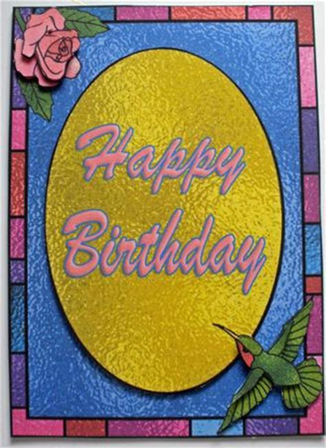 stained glass hummingbird  rose card birthdayget  cup craftsuprint