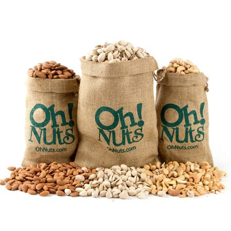 burlap sack trio set roasted pistachios cashews