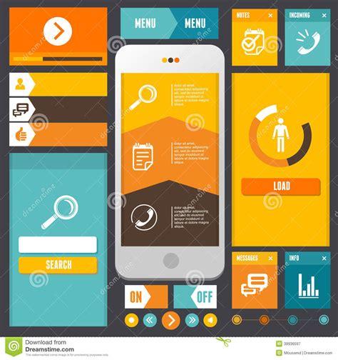 modern ui flat design vector kit web elements stock