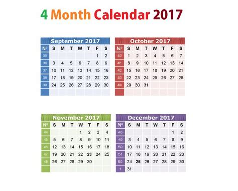 calendar template 4 months per page printable calendar 4 months per page printable calendar 2017