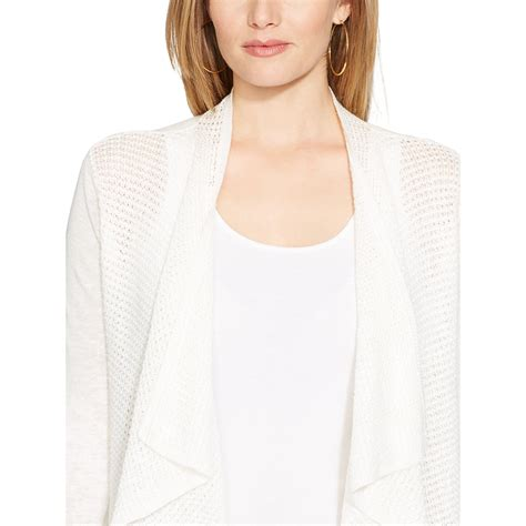 pointelle knit cardigan lyst ralph pointelle knit cardigan in white