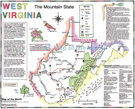 map of the west west virginia map blank outline map 16 by 20 inches