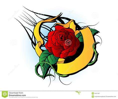 cartoon rose tattoo with leafs and water drops vector