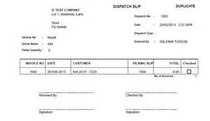 sample dispatch slip duplicate