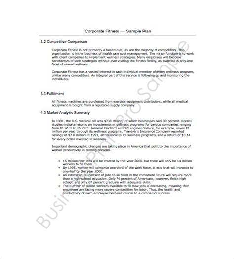 Fitness Business Plan Template by Business Plan Template 13 Free Sle Exle